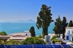 Widok na morze z tarasu w Sidi Bou Said (Tunezja)